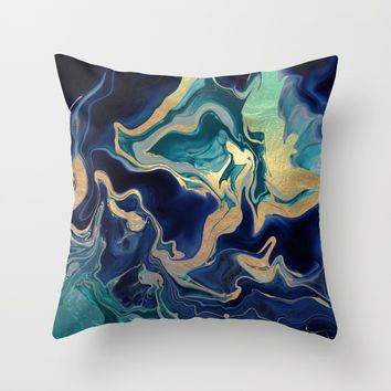 DRAMAQUEEN - GOLD INDIGO MARBLE Throw Pillow by monikastrigel