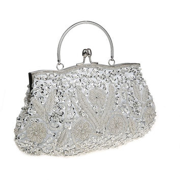 Sequined Glitter Evening Clutch Bag