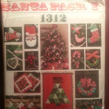 Uncut 1970's Vogue Sewing Pattern, 1312! Santa Pack I Christmas Holiday Home Decor/Wreaths/Stockings/Tree Ornaments/Ball/Santa/Hearts/Dove