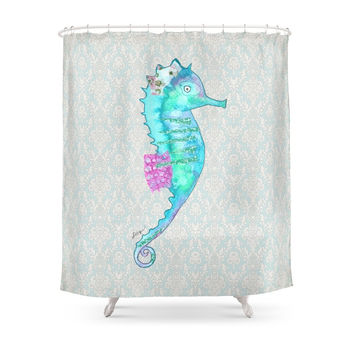Society6 Blue Sea Dragon Revised Shower Curtain