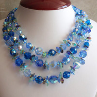 Blue Cut-Glass Necklace Vendome 1962 Crystal Triple Strand Gorgeous Vintage 091114SB