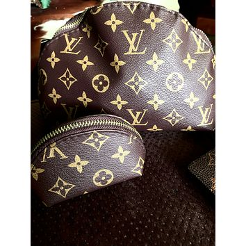 Free shipping-LV Tide brand classic old flower female makeup bag shell bag four-piece