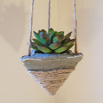 3 Hanging Concrete Succulent Pyramid Planters, Rustic Jute Twine