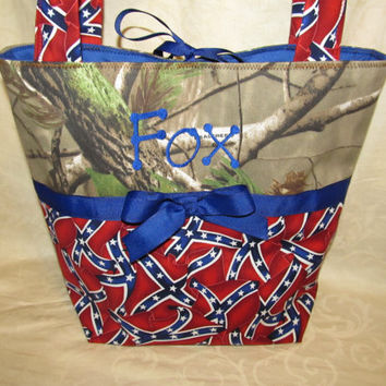 custom handmade dixie flag and Realtree camouflage purse you choose name or initials