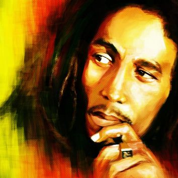 bob marley portrait painting wallpaper KC746 living room home wall modern art decor wood frame fabric posters