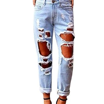 Womens Glistening Ripped Jeans Destructed Hole Denim Trousers Light