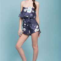 Fiesta Floral Ruffle Party Romper Navy