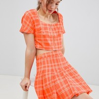 Unique 21 Pleated Mini Skirt In Check Co-Ord at asos.com