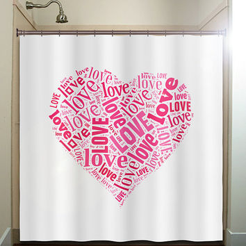 valentines day typography love heart shower curtain bathroom decor fabric kids bath white black custom duvet cover tablecloth window