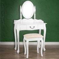 White Dressing Room Table + Stool Mirror MakeUp Nail Middle Drawer Bedroom Desk