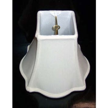 """Silk Square Out Scallop Standard Clip On Bell Lamp Shades, Fully Lined.  3 1/2 T X 8"""" B X 7"""" H"""