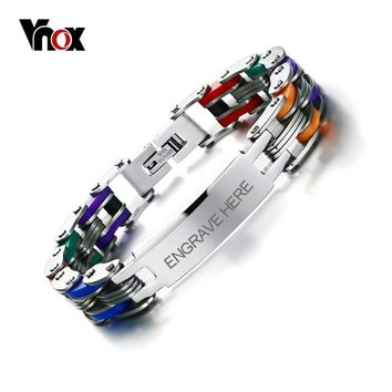 Vnox Men's Personalized Engrave Bike Bracelet Fashion Colorful Stainless Steel Chain Link Bracelets Bangles for Men Jewelry