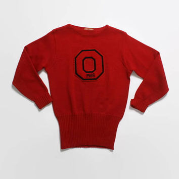 Vintage 50s Varsity SWEATER / 1950s Red Wool Nebraska University MANAGER Letterman Pullover