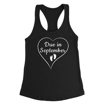 Due in September pregnancy announcement baby reveal baby shower Mother's day gift Ladies Racerback Tank Top
