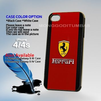Ferrari logo Photo On Hard Plastic iPhone 4 4S Case