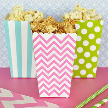 Popcorn Boxes - Chevron Polka Dot or Stripe for Candy Bar - Wedding Favors Party Favor - Aqua Blue Black Green Pink Red Yellow Gold Silver