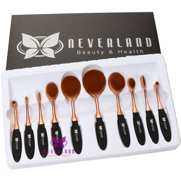 Fashion 10PCS Cosmetics Brush Toothbrush Design Eyebrow Foundation Power Face Eyeliner Puff Oval Makeup Brushes Tools with Box