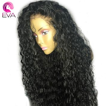"Eva Hair Pre Plucked Full Lace Human Hair Wigs With Baby Hair 8""-26"" Natural Color Brazilian Remy Hair Glueless Curly Lace Wigs"