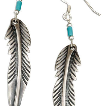 STERLING SILVER FEATHER EARRINGS WITH RECONSTITUTED TURQUOISE HEISHI BEAD