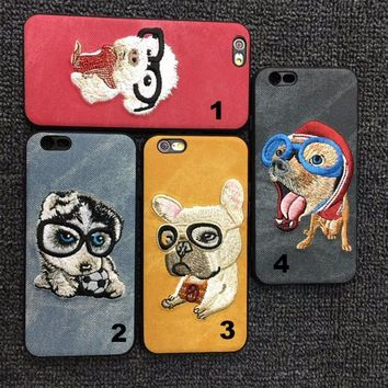 Chinese style Embroidery Dog mobile phone case for iPhone X 7 7plus 8 8plus iPhone6 6s plus -171124
