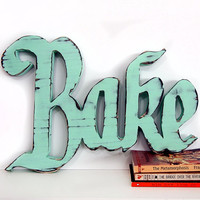 Wooden Bake Sign (Pictured in Mint) Pine Wood Sign Wall Decor Rustic Americana Cottage Country Chic