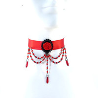 Black and Red Satin Choker with Rose, Glass Beads Chains - Vampire, Cabaret, Goth, Victorian, Burlesque, Necklace, Chocker