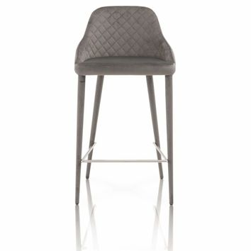 Velvet Upholstery Counter Stool With Hairpin Design Legs, Gray, Set Of Two - SIF-1634CS-GAV-GRY