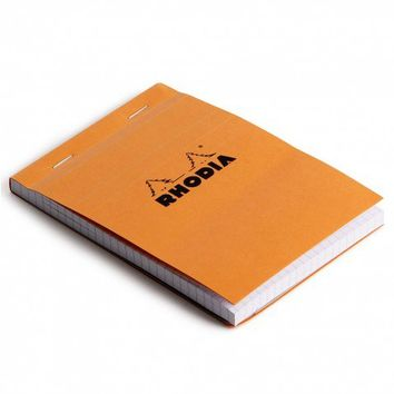 Rhodia orange A6 stapled pad with grid pages - Notebooks - Stationery