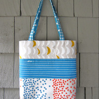 Patchwork Tote Bag- blue stripe and dots