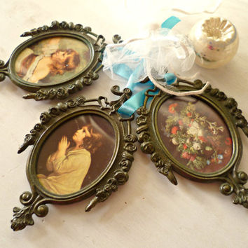 Shabby Vintage Italian Frames. Set of 3. Ornate Miniature Picture Display. Cottage Roses and Ribbons. Charming Children, Garden Floral Art
