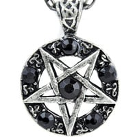 Inverted Pentagram Ritual Necklace with Black Stones