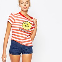 Lazy Oaf T-Shirt In Sailor Stripe With Mediocre Print