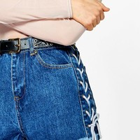 Liz Denim Lace Up Side Fray Hem Shorts | Boohoo