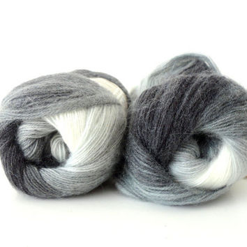 gray ivory white  bluegray  Wool Mohair Acrylic yarn , 2 Skeins, Each skein: 100 gr , 550mt /602yds ,Alize Yarn