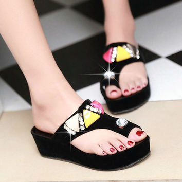 Rhinestone Wedges Chunky Heel Platfom Flip Flops Black White Women Summer Sandals Crystal Lady Sexy Sandal Shoes 34-39 SXQ0505