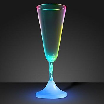 Light Up Champagne Glass with Color Changing LED Light & Long Spiral Stem (Set of 6)