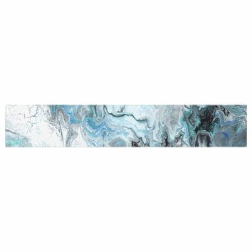 "Catherine Holcombe ""Wave Crash Marble"" Blue Teal Abstract Coastal Painting Table Runner"