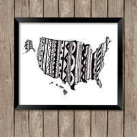 USA Map Art Print, USA Art, USA Art Print, Zentangle