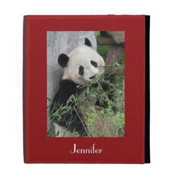 Cute Giant Panda, Red Background iPad Folio Cover