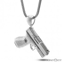 King Ice Rhodium Silver Handgun Necklace
