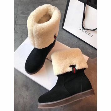 Gucci Snow Wool Boots Black Women Gaotong Boots Thickened Flat Shoes-1