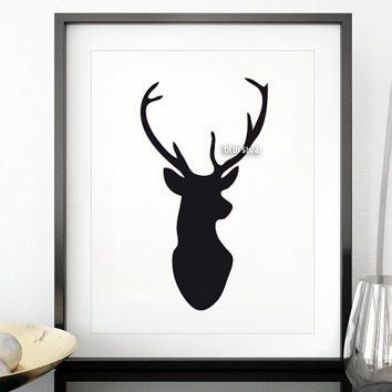 Deer silhouette wall art, black deer head, black and white deer print, printable silhouette art, minimalist deer decor diy - pp172 A