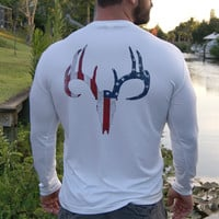 Distressed American Flag Deer Skull White UPF Long Sleeve Shirt