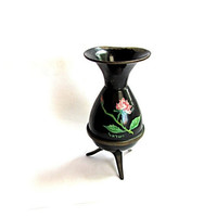 Small 1960's black footed copper vase with hand painted roses