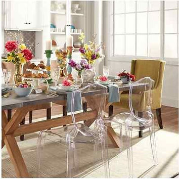 Crystal Clear See Thru Dining Seats Ghost Style Accent Chair Set Indoor Outdoor