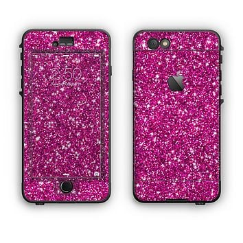 The Bright Pink Glitter Apple iPhone 6 Plus LifeProof Nuud Case Skin Set