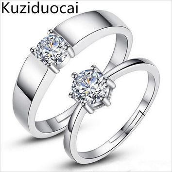 2017 New Hot ! Fashion Fine Jewelry Zircon White Copper Silver lovers Size Adjustable Wedding Party Rings For Women And Men R-1