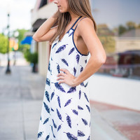 Have You Heard Dress, Navy-White