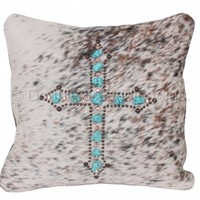 Brown Roan Cowhide Cross Pillow - PIL09