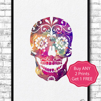 Sugar Skull 2 Watercolor Print Skull llustrations Kid's Room Wall Poster Giclee Wall Decor Home Decor Wall Hanging Sugar Skull Art Poster